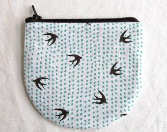 Birds Curved Zipper Pouch