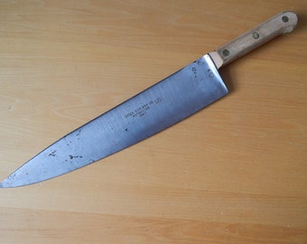Vintage UTICA Cutlery Co KUTMASTER US Army Military 1967 Chef Butcher Knife Carbon Steel 17.5""