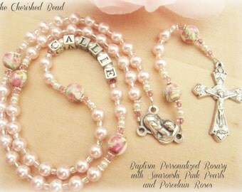 Baby Girl Personalized Baptism Rosary with Pink Pearls, Swarovski Crystals & Porcelain Rose Beads