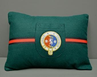 Handsom Felt Pillow - Hand-made Pillow using an Original 1950's English School Badge