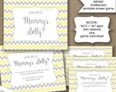 How big is mommy's belly baby shower game, INSTANT DOWNLOAD, measure mom's bump game, yellow gray chevron, neutral gender baby shower