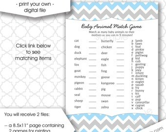 Who's my mama baby shower game, baby animal name game, instant download, blue gray chevron printable games DIY, printable boy games