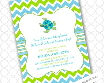 Modern Sea Turtle boy baby shower invitation, personalized digital file, under the sea or ocean theme little boy birthday party invites CUTE