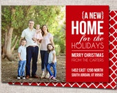"Photo Christmas Card, New Address Card: PRINTABLE (""New Home for the Holidays"" We Moved Christmas card)"