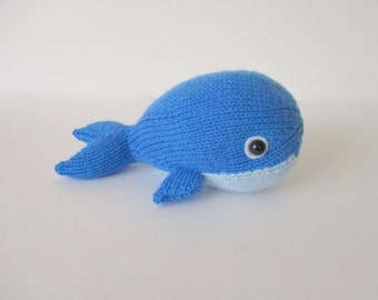 Bob the Blue Whale and Narwhal toy knitting patterns
