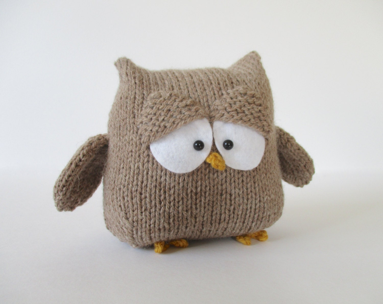 Oscar the Owl toy knitting patterns by fluffandfuzz on Etsy