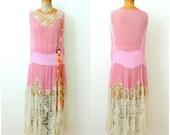 Amazing Vintage 1920s Flapper dress/Pink Silk Chiffon/Handmade wedding lace/Stenciling Painted flowers/Ribbon work rosettes