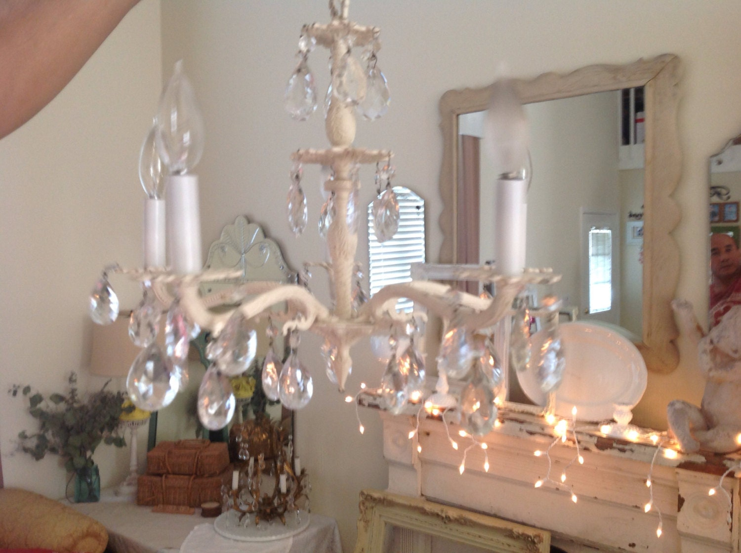shabby chic crystal chandelier vintage shabby by