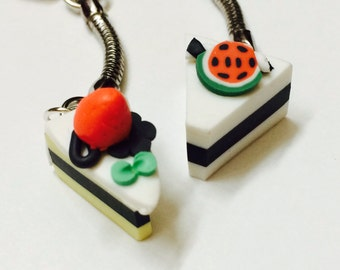Cake Keychains, Set of Two For Best Friends, polymer clay, couples keychains, miniature food keychains