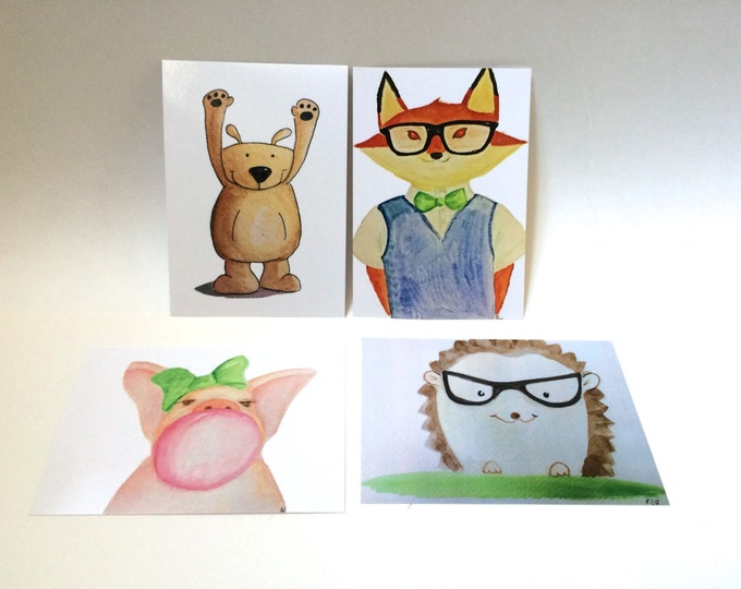 Set of 4 Animal Themed Postcards of my watercolor prints, sassy bubble gum pig, bear, dapper fox, smart hedgehog