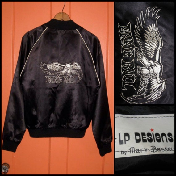 Vintage 1970's Ernie Ball hand Embroidered Satin Jacket LP Designs by Mary Bassel Guitar String Medium 40
