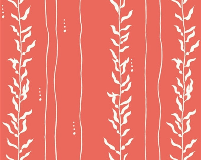 Organic KNIT Fabric - Birch Beyond the Sea - Kelp Coral
