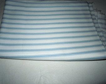 Vintage blue striped Ticking fabric