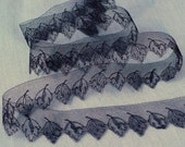 "13/16"" Alder Leaf Lace, Victorian Black Mourning Lace"