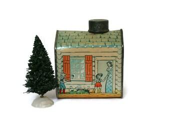 Vintage Log Cabin / Tin Bank / Log Cabin Advertising Bank (c.1950s) Display for Kitchen or Cabin Decor