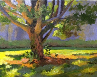 """20% off Original Acrylic Abstract landscape painting- Quiet place at Kent park - 9"""" x 12"""""""