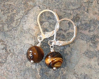 Tiger Eye Earrings, Gemstone Earrings, Natural Stone Earrings, Elegant Earrings, Simple Earrings, Silver Earrings, Handmade Earrings, Brown