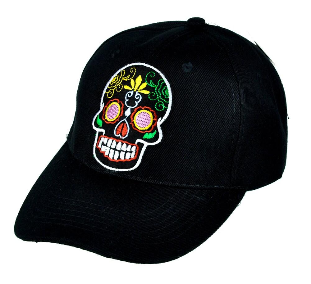 Mexican Dia De Los Muertos Sugar Skull Black Baseball Cap Hat