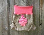 Upcycled Wool/Cashmere Soaker Cover Diaper Cover With Added Doubler Tan/ Pink With Cupcake  Applique  MEDIUM 6-12M