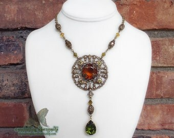AUTUMN SPLENDOR - Aged brass Victorian filigree necklace in hues of autumn ~ topaz, olivine glass