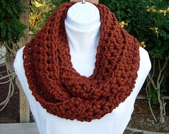 Infinity Scarf Loop Cowl Dark Burnt Orange Rust Spice, Soft Wool Blend, Lightweight Crochet Knit Winter Eternity..Ready to Ship in 2 Days