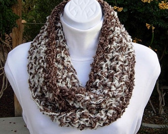Small INFINITY SCARF, OOAK Loop Cowl, Narrow Skinny, Brown Off White Soft Thick Acrylic Boucle Crochet Knit Winter Circle..Ready to Ship