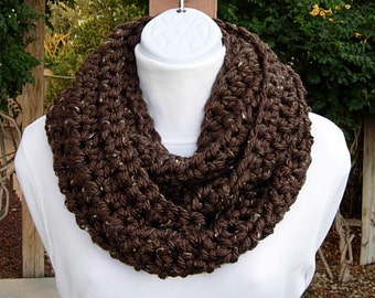 Ready to Ship Cowl Scarf Infinity Loop, Dark Espresso Brown Tweed with Tan, Black, Soft Crochet Knit Winter Circle, Women's Neck Warmer