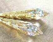 Clear Crystal Gold Earrings Long Drop Aurora Borealis Swarovski Crystal Earrings Gold Filigree Dangle Victorian Earrings