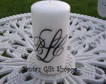 Monogrammed Vinyl Decal for Candle - Wedding - Bridal Shower - Home Decor - Custom Gift - (CANDLE NOT INCLUDED)