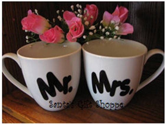 Vinyl Decal Stickers - Mr. & Mrs - Kitchen Decor - (CUPS NOT INCLUDED) Wedding Gift - 1 Set of Decals - Tumblers - Custom - personalized
