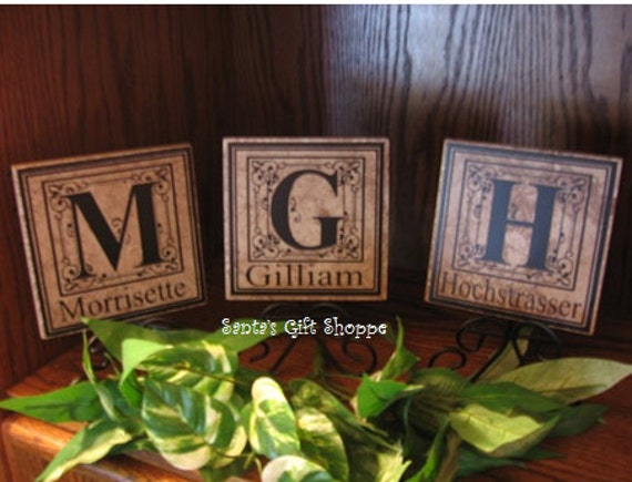 6in. x 6in. Tile Personalized Monogrammed with Name & Initial Decal -GREAT GIFT ANYTIME -Wedding - Family Reunion - Anniversary - Home Decor