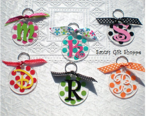 Personalized  Key Chain - Monogrammed Initial - Luggage Tags - Back Pack - Back to School - Sweet 16 - Polka Dots -Acrylic