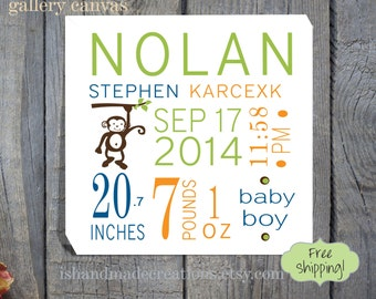 Baby Canvas Monkey theme perfect decoration for nursery custom Birth Announcement for New Baby Baby Birth Canvas