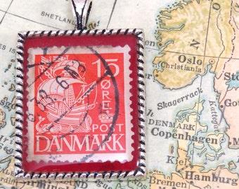 Vintage Denmark Postage Stamp Necklace Pendant Key Ring