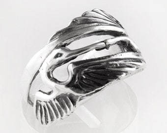 Double Heron Sterling Silver Ring
