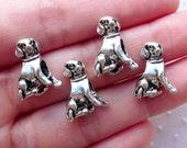 Silver Dog Beads 3D Animal Focal Bead (4pcs / 13mm x 16mm / Tibetan Silver / 2 Sided) Large Hole European Bead Bracelet Pet Jewelry CHM2159
