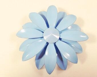 FLOWER BROOCH - VINTAGE Brooch - Blue Brooch Pin - Enamel Brooch - Flower Power - Retro Brooch - 1970s Brooch - Large Brooch - Floral Brooch