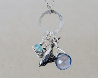 Iolite and Apatite SPARROW charm necklace Sterling Silver with hand hammered hoop