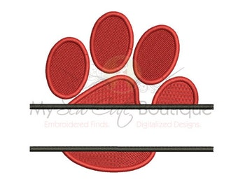 Split Paw Print Embroidery Design - 10 Sizes - Instant Download