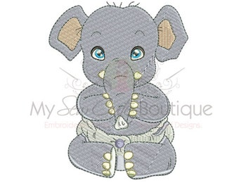 Embroidery Elephant Designs - 3 Sizes - Instant Download