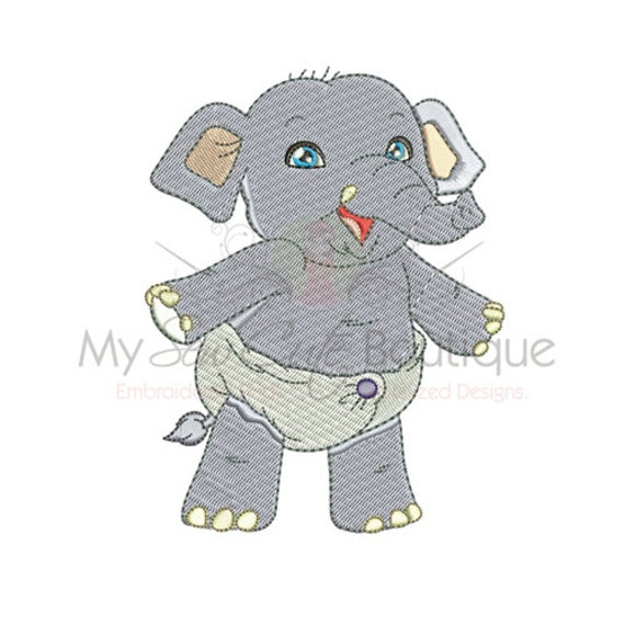 Baby Elephant Embroidery Designs 3 Sizes Instant Download