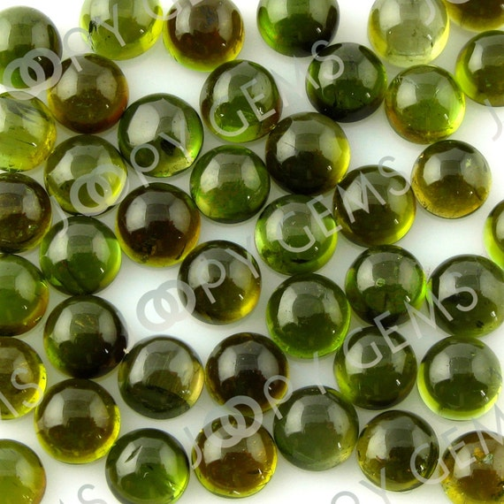 Bottle-Green Tourmaline (Verdelite) Cabochon 4mm Round - 1 cab, CTOU16SR4