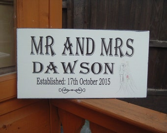 Shabby chic Top Table wedding wooden sign plaque free-standing personalized