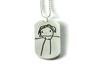 Personalized Your Child's Artwork on Fine Silver Pendant..Made to Order