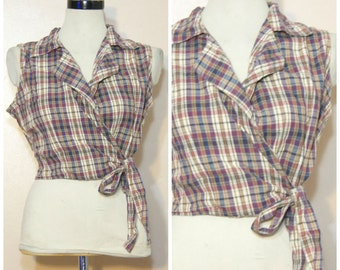 90s Tie Hem Crop Top Large Plaid 90s Prep Hipster Normcore Grunge