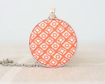 Orange necklace tribal jewelry hippie necklace geometric pendant necklaces for women bohemian jewelry aztec necklace unique gift for her