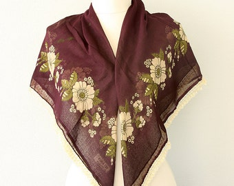 Vintage cotton scarf Boho summer shawl Floral tatting scarf Oya Turkish Scarves Yemeni needle lace Needlework head scarf Dark burgundy scarf
