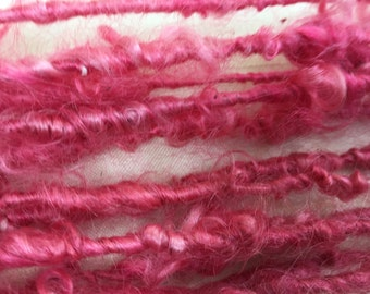 Handspun Art yarn hand spun hand dyed bulky knitting supplies crochet supplies Waldorf doll hair wool mohair