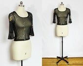 Vintage black sheer cropped shirt with bell sleeves