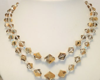 Vintage crystal necklace. Golden crystal beads. 2 row necklace